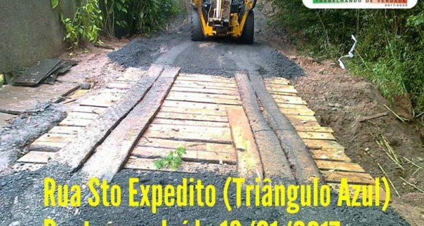 Bairro do Triângulo Azul recebe obra de reparo de ponte