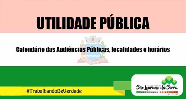 Calendário das Audiências Públicas- Localidades e horários