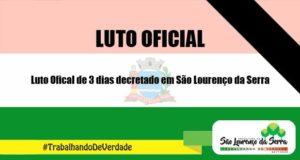 Luto Oficial de 3 dias é decretado em São Lourenço da Serra