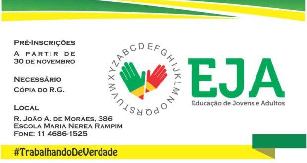 Abertura de pré inscrição para EJA - Escola de Jovens e Adultos