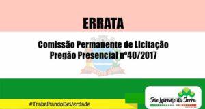 Errata - Pregão Presencial nº 40/2017