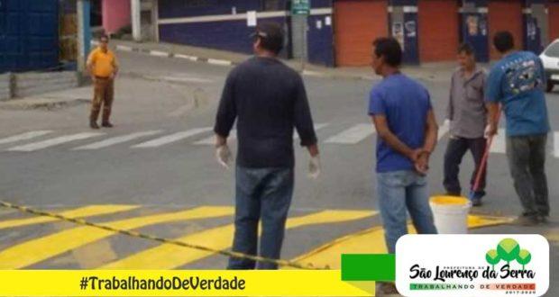 Manutenção da Sinalização horizontal no Centro de São Lourenço da Serra