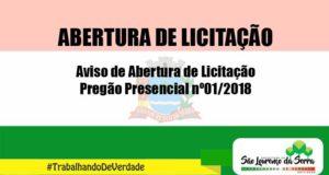 Aviso de Abertura de Licitação - Pregão Presencial nº 01/2018