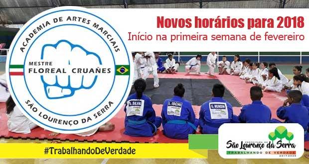 Horários das aulas na Academia de Artes Marciais de São Lourenço da Serra