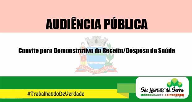 Utilidade Pública - Audiência Pública para Demonstrativo de Receita/Despesa da Saúde
