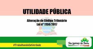 Utilidade Pública - Alteração do Código Tributário
