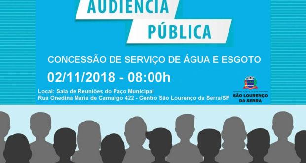 AVISO DE AUDIÊNCIA PÚBLICA RELATIVA A SERVIÇOS PÚBLICOS DE ÁGUA E ESGOTO DO MUNICÍPIO DE SÃO LOURENÇO DA SERRA/SP.