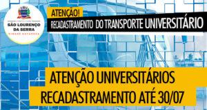 Atenção universitários! Recadastramento do Transporte Universitário 2019